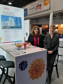 Sandra Winter and Jessica Olheide, student exchange coordinators, at the EAIE in Helsinki