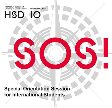 Logo der HSD und des IO oben links in schwarz. Grau im Hintergrund ein großer Kompass. Darüber in rot SOS! Unten links in schwarz: Special Orientation Session for International Students