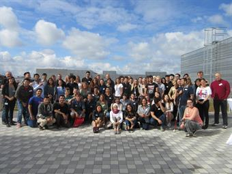 The picture shows exchange students of HSD at the welcome breakfast of the international office.